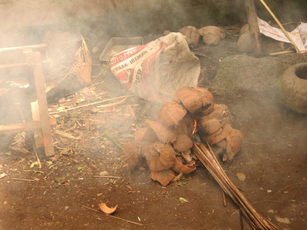 coconut husk fire
